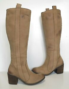 Ladies Moda in Pelle Brown soft leather knee high-heeled boots Size UK 5 Great