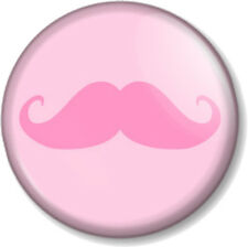 "Pink Moustache 25mm 1"" Pin Button Badge Movember Tash Mustache Geek Cute Novelty"
