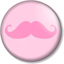 "Pink Moustache 25mm 1"" Pin Button Badge Movember Tash Mustache Geek Cute Novelty"