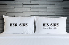 Pillowcases Funny Novelty His Side Her Side Bedroom Pillow Cover Bedding WSD839