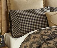 BLACK TAN CHECK PILLOWCASE (Set of 2) : PRIMITIVE RUSTIC CABIN PILLOW CASE COVER