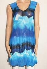 Clarity Brand Blue Print Mesh Lace Tunic Dress Plus Size S BNWT #Si74