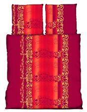 3 tlg Bettwäsche 200 x 200 cm Ornamente rot Microfaser Doppelbett