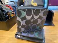 New Coach C1603 Graphite Green 3-in-1 Wallet in Rainbow Signature Canvas
