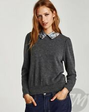 Zara Grey Jumper With Contrasting Lace Collar Size Large L 12 14