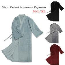 Men Velvet Kimono Pajamas Japanese Winter Dressing Gown Yukata Bathrobe Grey
