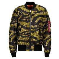 Alpha Industries Slim Fit Ma-1 Flight Jacket Tiger Camo New Men MJM44530C1-952