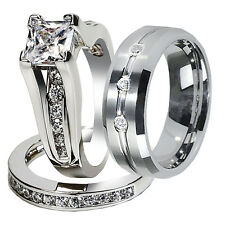 His Hers 3 PC Tungsten & 925 Sterling Silver CZ Wedding Bridal Rings Band Set