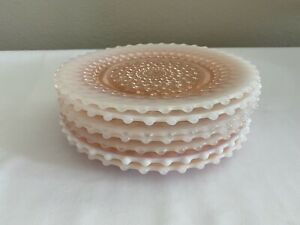 """LOT OF 8 DUNCAN & MILLER GLASS PINK OPALESCENT HOBNAIL 8"""" LUNCHEON PLATES"""