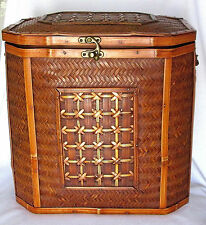 WICKER RATTAN COPPER WEAVED LATCHED STORAGE OR DECORATIVE CHEST