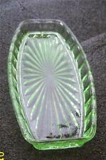 DEPRESSION GREEN GLASS RECTANGULAR CAKE OR BISCUIT DISH