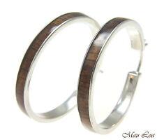 Koa Wood Hawaiian Rhodium Plated Brass 39mm Round Hoop Snap Closure Earrings