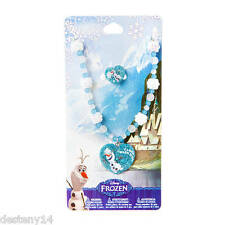 Disney Princess Frozen Olaf Girls Heart Necklace & Ring Set Sparkly Snowflakes