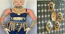 5x Premiere Knöpfe Vintage Chanel 24mm Jacke Mantel Kostüm Kleid Hose Logo Gold