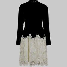 fff0f81c21 Topshop Premium Black Velvet   Cream Lace Skater Dress - Size 8