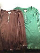 Lot Of 2 Hollister Womens Top Sz M 100% Cotton Brown Shirt Green Tops Women's