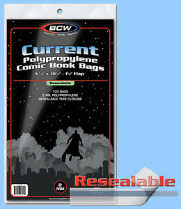BCW: Comic Bags: RESEALABLE: CURRENT or CUR-THICK:  200ct (2 packs) *FREE SHIP