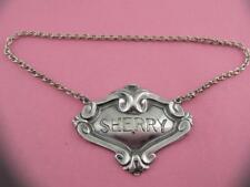 Sterling Silver Wine Decanter Tag / Label SHERRY w/ scroll patterns