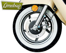 "Scooter White Wall Toppers Tyres Set 10"" Skinny Whitewalls Band Wheel Moped Bike"