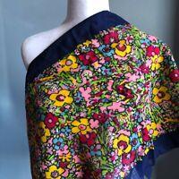 "Vintage 40"" Cotton? Navy Blue Border Bold Floral Print Pink Yellow Scarf Fun"