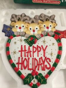 vtg HAPPY HOLIDAYS REINDEER Wall Plaque Christmas Holiday dolomite ceramic