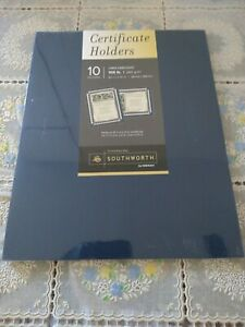 Southworth Certificate Holder Navy Blue Linen 105 lbs. 12 x 9-1/2 10/Pack PF8