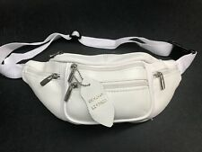 MENS/LADIES LEATHER  FANNY PACK/WAISTBAG WHITE GENUINE COWHIDE LEATHER LAST FEW