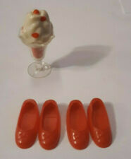 Vintage Barbie Tutti Doll'S Strawberry Ice Cream Sundae 2 Prs Red Bow Shoes Lot