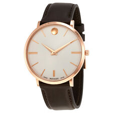 Movado Ultra Slim Silver Dial Brown Leather Mens Watch 0607089