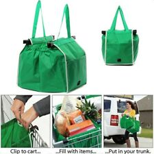 Grocery Shopping Bag Foldable Trolley Tote Eco Reusable Large Bags Clip To Cart