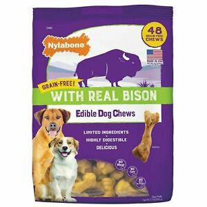 Nylabone, 48 Count - Real Bison Edible Dog Grain-Free  Chews