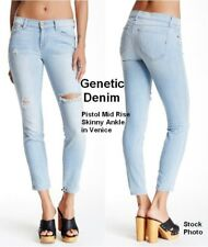Genetic Denim Jeans Pistol Mid Rise Skinny Ankle Distressed Sz 25 NEW $150