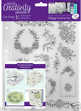 Docrafts Papermania FLORAL ICONS flower A5 stamp 15pc set+ storage folder pocket
