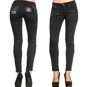 Affliction Raquel Avenge Faux Leather Angel Wings Womens Skinny Jeans Black NEW
