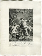 Antique Master Print-AMOR-BACCHUS-LOVE-WINE-Desplaces-c.1720