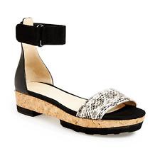 "Jimmy Choo 'neat"" Ankle Strap Wedges Snake Sandal Shoes Slingback 40- 9.5 Cork"