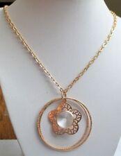 Sautoir pendentif fantaisie chaîne collier bijou couleur or anneaux 1976