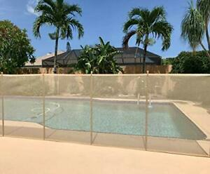 XtremepowerUS 90130 Pool Safety Fence HD 4X12 Sand Beige Stainless Steel Pole XP
