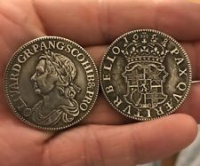Restrike Oliver Cromwell 1/2 Crown 1658 Half Silver Plated Coin