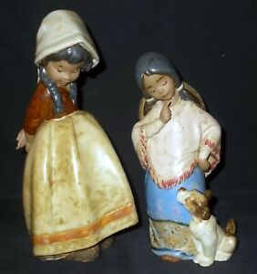 Lladro LONELY #2076 & CHIQUITA #2165 Gres Figures - Made in Spain