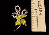 Vintage Jewelry Rhinestone Brooch Pin Light Blue Floral Design w/ Enamel Leaves