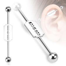 1 Pc Surgical Steel Razor Blade Design Industrial Barbells 14g