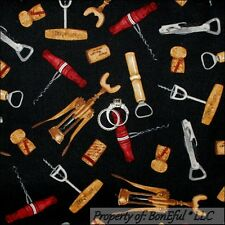 BonEful Fabric FQ Cotton Quilt VTG Black Red Wine Opener Cork Screw Bar Man Cave