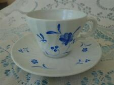 VINTAGE ROYAL WORCESTER BLUE BOW CUP AND SAUCER, WHITE W/BLUE FLOWERS