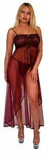 Plus Size Lingerie Sheer Purple Burgundy see through Long Gown + Thong Panty 2X