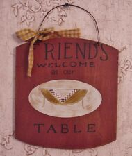 """""""FRIENDS Welcome at our TABLE"""" Burgundy Kitchen Wooden Plaque - YWC59009"""