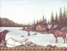 MOOSE,BEAR, FISHING,CABIN ON LAKE Wallpaper bordeR Wall