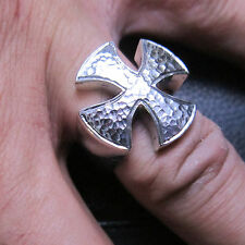 MJG STERLING SILVER. IRON CROSS RING. HARLEY. BIKER. GUITAR PLAYER. SIZE 10 1/2