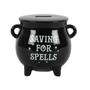 Cauldron Money Box Black Ceramic, Saving For Spells, Piggy Bank