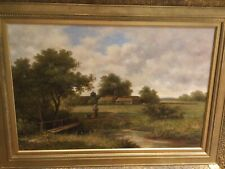 More details for fine early 20th century...oil on canvas...a country scene with young lady & her